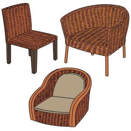 vector set of wicker chair Illustration