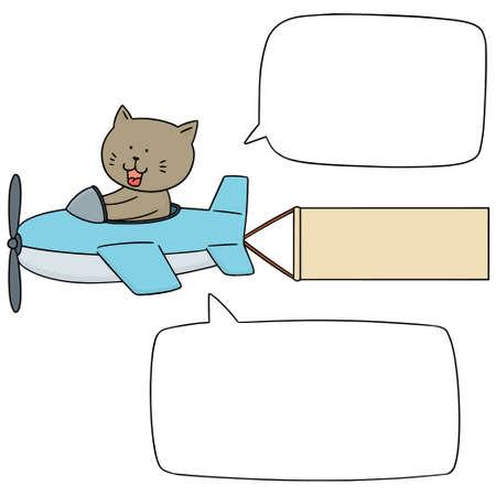 vector illustration of cat on plane