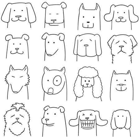vector set of dogs on white background. Illustration