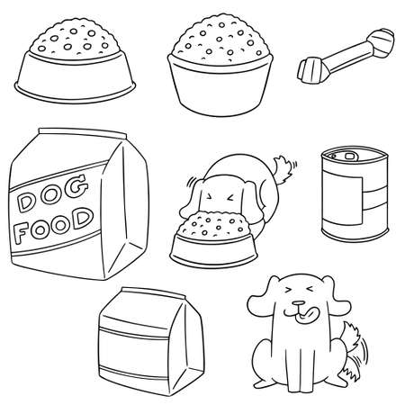 Vector set of dog food