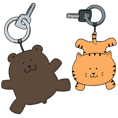 Vector set of animal keychain Ilustração
