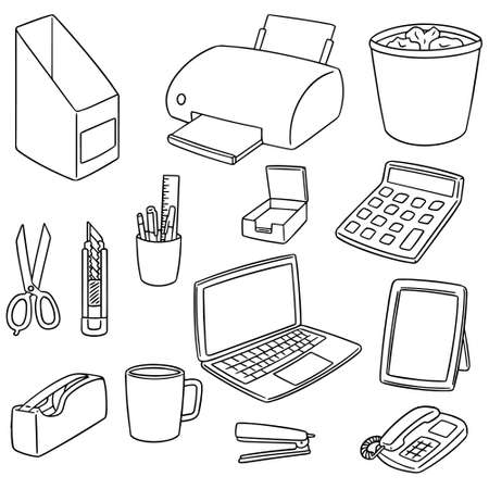 vector set of office accessories on white background.