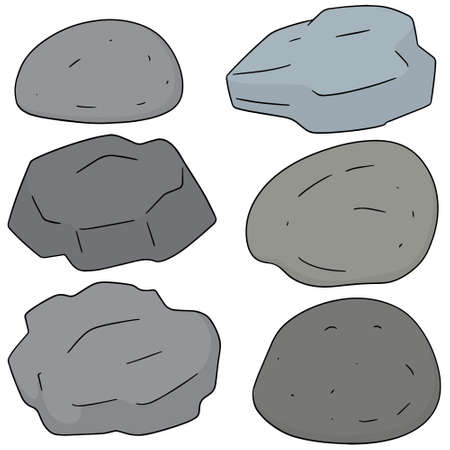 vector set of stones on white background.