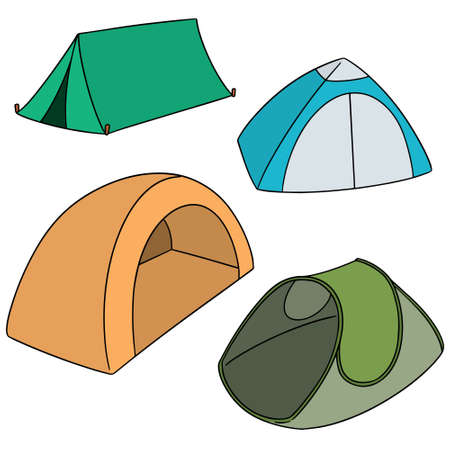 vector set of tents on white background.