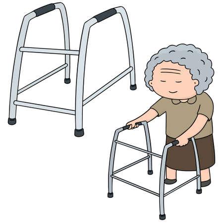 vector set of elder woman walk using walker
