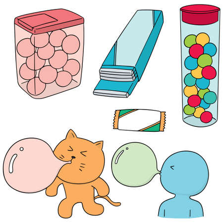 vector set of bubble gum on white background. Vectores