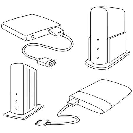 vector set of storage devices on white background.