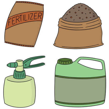 vector set of fertilizers on white background.
