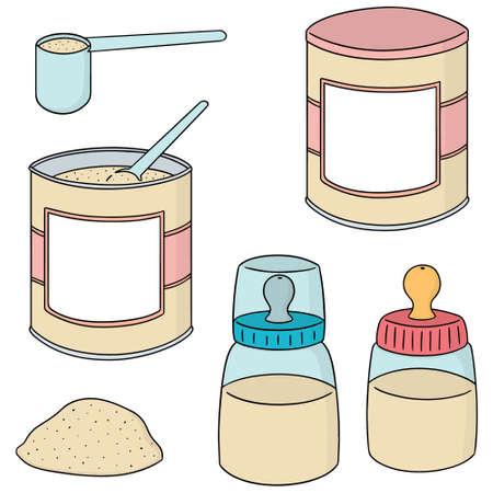 Conjunto del vector de leche en polvo en el fondo blanco. Ilustración de vector