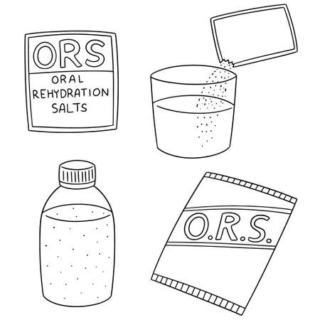 vector set of oral rehydration salt on white background.