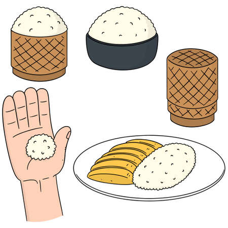 vector set of sticky rice Illustration