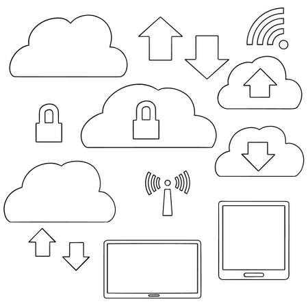 vector set of cloud storage Illustration