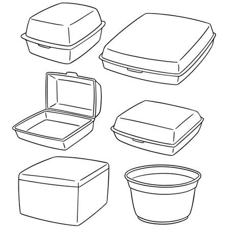 Set of foam containers icon.