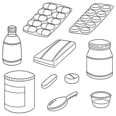 vector set of medicine Ilustração