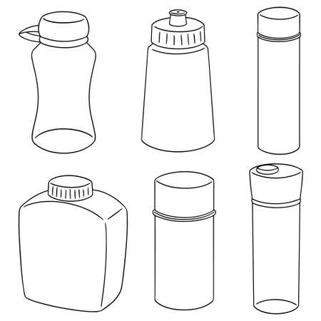 vector set of water bottles on white background.