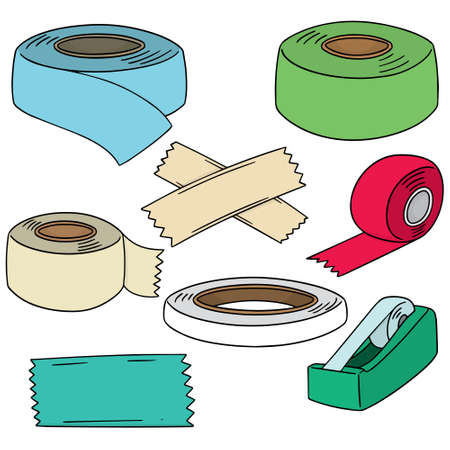 vector set of adhesive tape Çizim