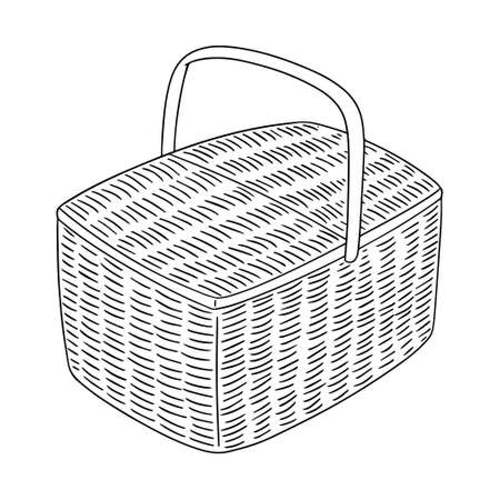 vector illustration of wicker basket on white background.