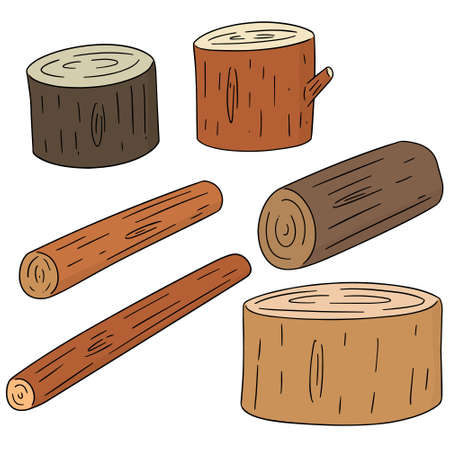 vector set of wooden timbers on white background.