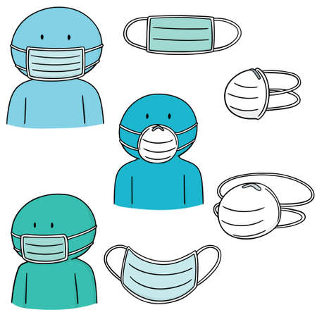 Set of medical protective masks icon. Stock Illustratie