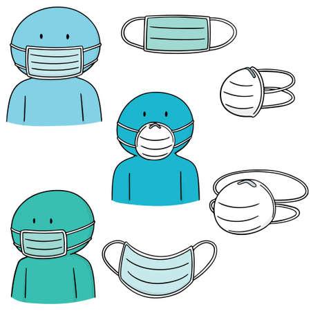 Set of medical protective masks icon. Illustration