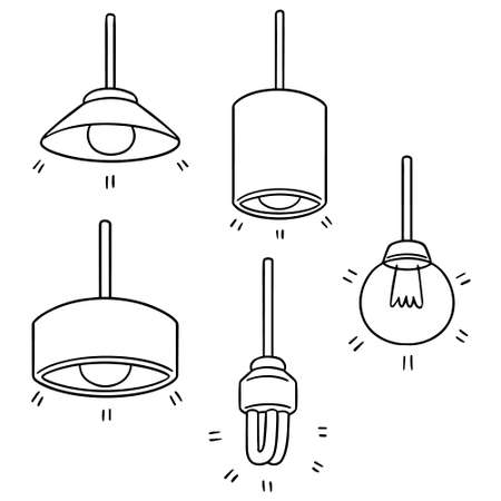 vector set of ceiling lamp Illustration