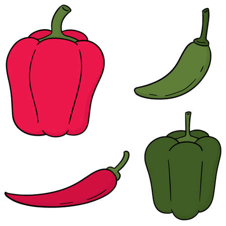 Set of chili pepper icon.