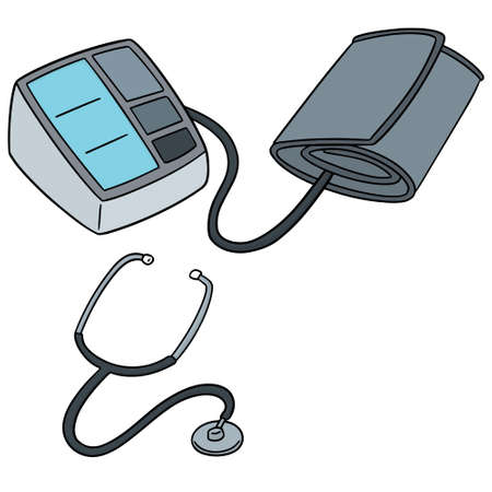 vector set of blood pressure monitor and stethoscope