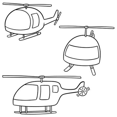 vector set of helicopters on white background.