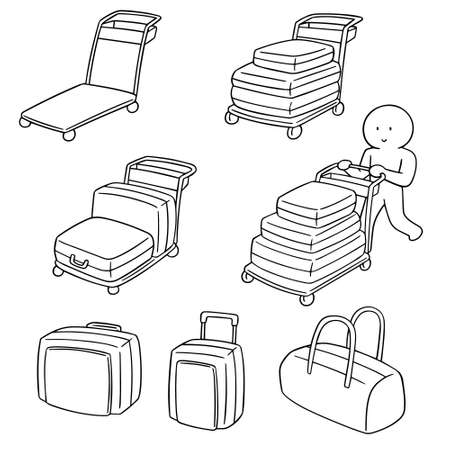 vector set of airport luggage carts Illustration