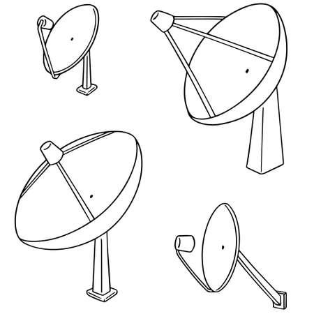 Vector set of satellite dish