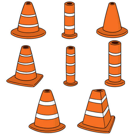 A vector set of traffic cone