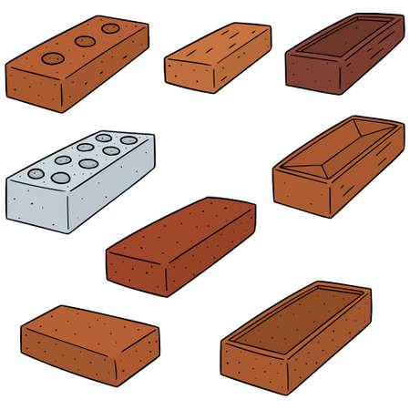 A vector set of brick on plain background.