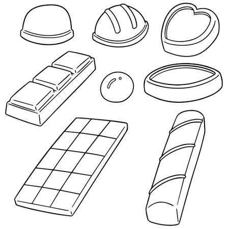A vector set of chocolate on plain background.