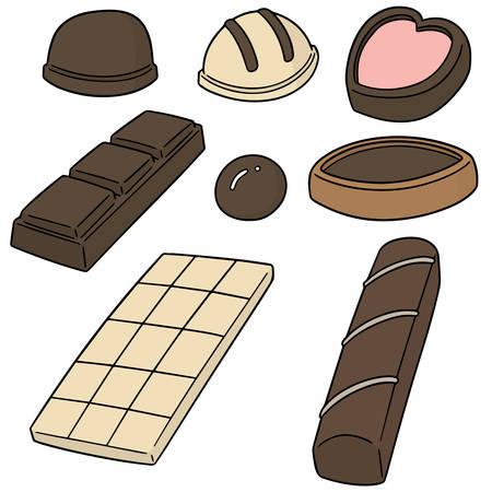 Um conjunto de vetores de chocolate no fundo liso.