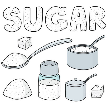 Vector set of sugar on white background illustration.