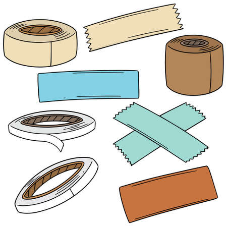 Vector set of adhesive tape on white background illustration.
