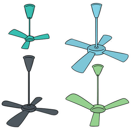 vector set of ceiling fan Stock Illustratie