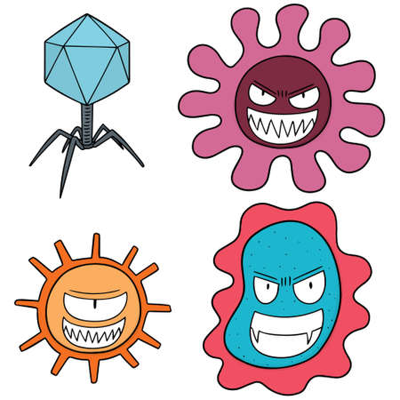vector set of bacteria and virus