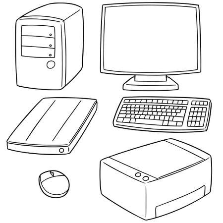 vector set of computer equipment