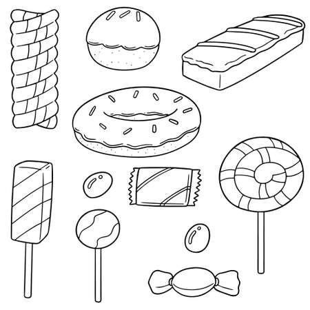 A vector set of sweets and candies Vectores