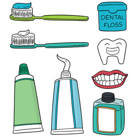 A vector set of tooth care on plain background.