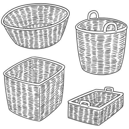 A vector set of wicker baskets on plain background. 向量圖像