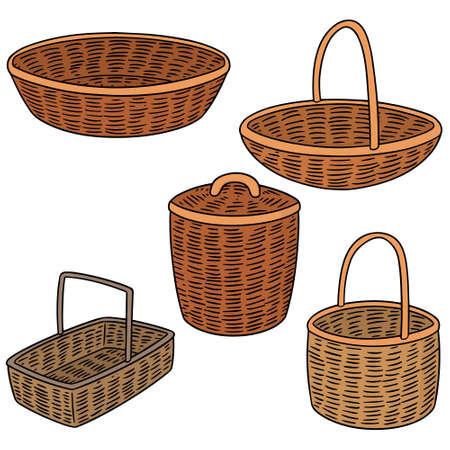 Set of wicker basket illustration.