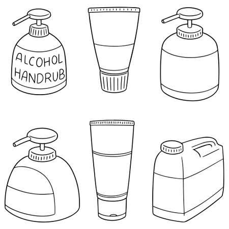 Set of alcohol hand rub illustration.