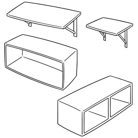 vector set of shelves