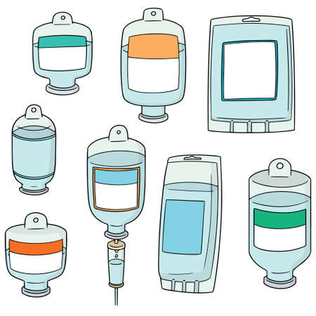 vector set of medical saline solution Banque d'images - 92677267