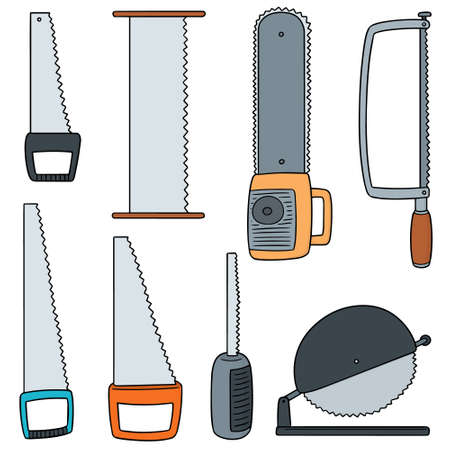 Vector set of saw on white background illustration.