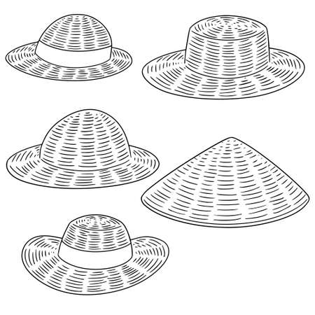 Vector conjunto de sombrero de paja