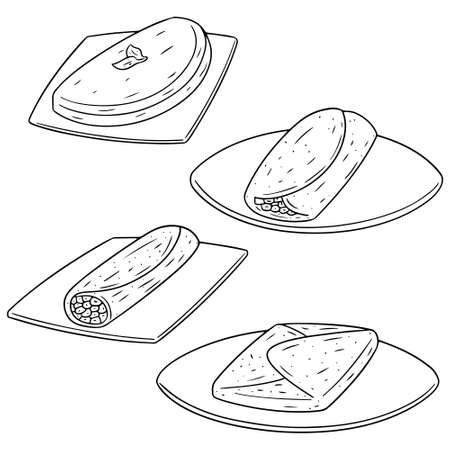 vector set of omelette  イラスト・ベクター素材