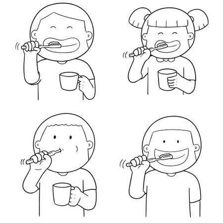 Vector set of children brushing teeth. Illustration